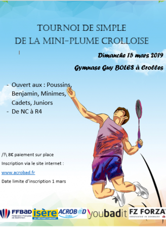 1er tournoi de simple de la Mini-Plume crolloise : ANNULATION